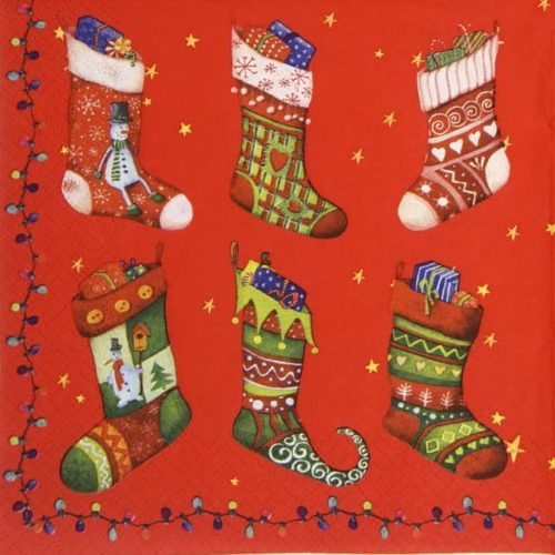 Lunch Napkins (20) -  Colorful Christmas Stocking