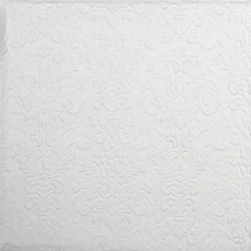 Lunch Napkins (15) - Embossed Elegance White