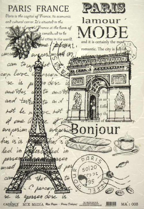 Rice Paper - Black/White Paris