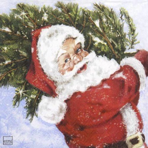 Cocktail Napkins (20) - Santa with his Tree