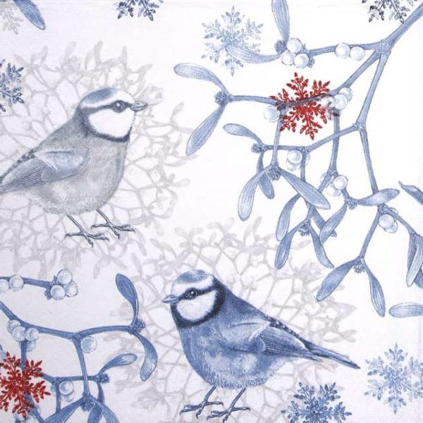 Paper Napkin - Blue Chickadees