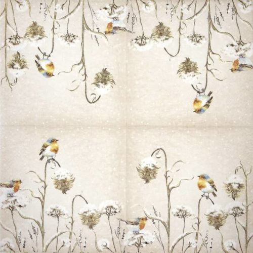 Lunch Napkins (20) - Robin in Thistles