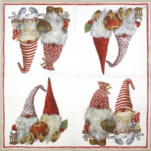 Paper Napkin - Friendly Tomte red