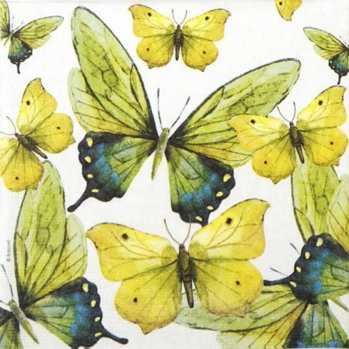 Lunch Napkins (20) - Bazaart: Green Butterflies