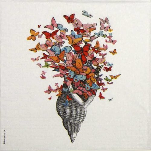 Cocktail Napkin -  Rococco: Seashell with Butterflies