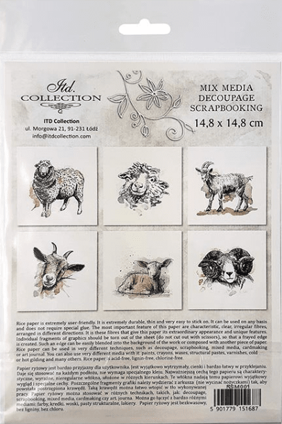 Rice Paper Set of 6 - Sheep, Goats, Rams
