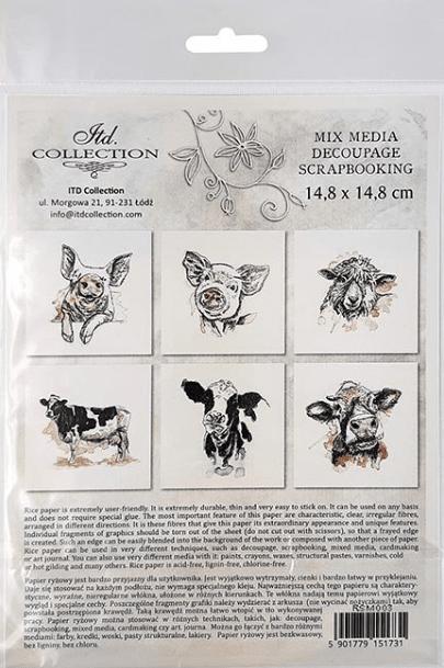 Rice Paper Set of 6 - Pig, Hog, Sheep, Cow
