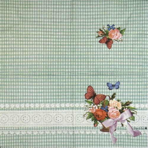 Paper Napkin - Roses Green lace
