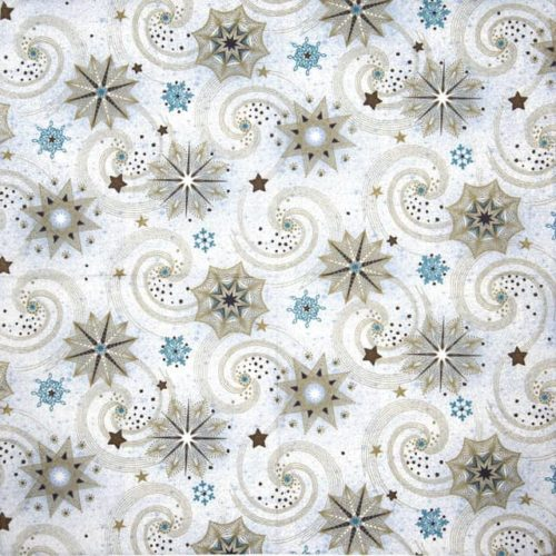 Paper Napkin - Golden and Turqouise Stars and Twirls