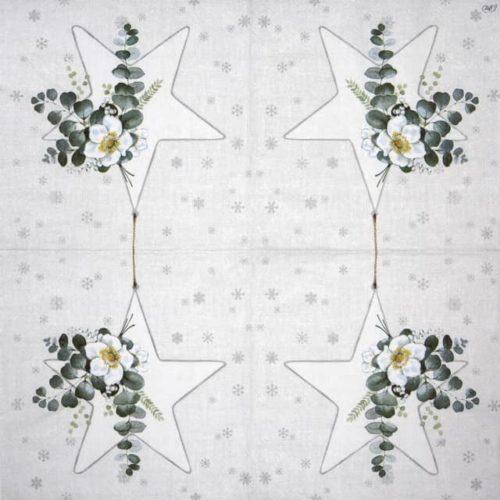 Lunch Napkins (20) - White Christmas Big Star silver