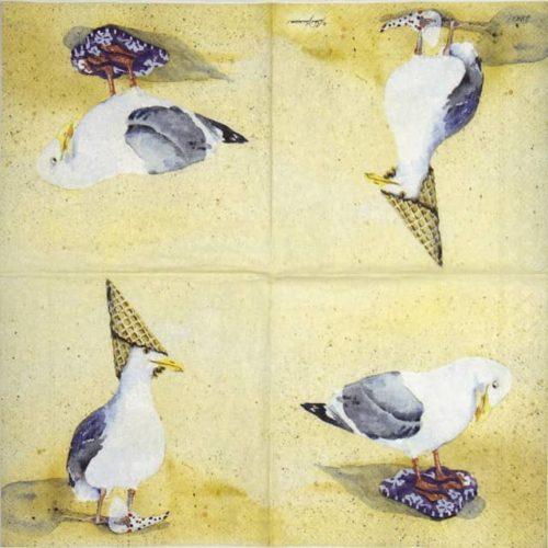 Cocktail Napkin - Funny seagulls ice