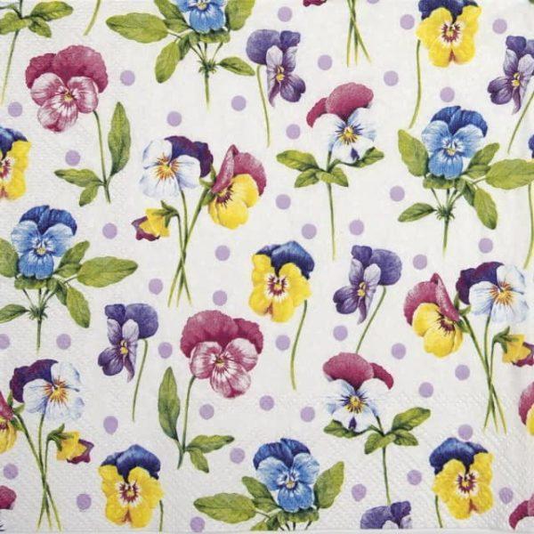 Paper Napkin - Purple pansy light lilac