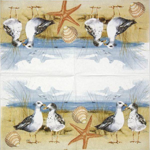 Cocktail Napkin - Seagulls at the beach