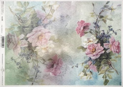 Rice Paper A/3 - Painted pink roses