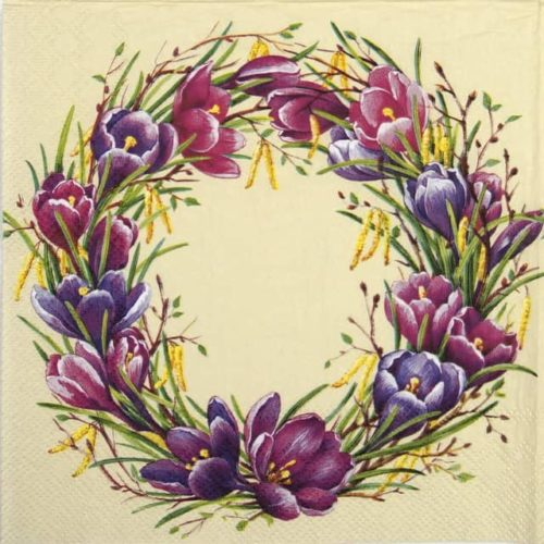 Paper Napkin - Spring circle cream
