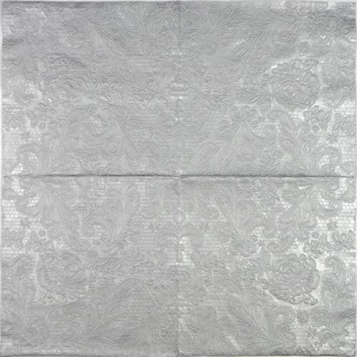 Paper Napkin - Lace Embossed Silver