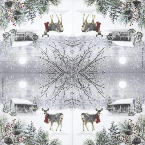 Paper Napkin -  Jan Shade Beach: Wintry Deer