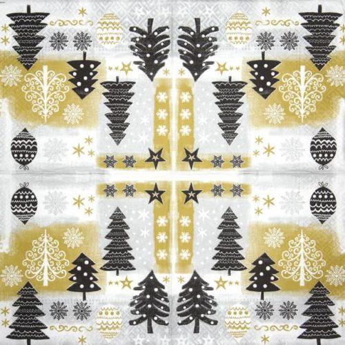 Paper Napkin - Christmas Design gold - Paw