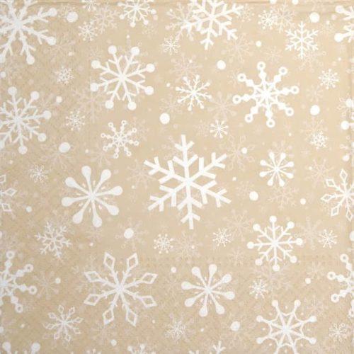 Paper Napkin - Christmas Snowflakes beige_Paw_SDL230611