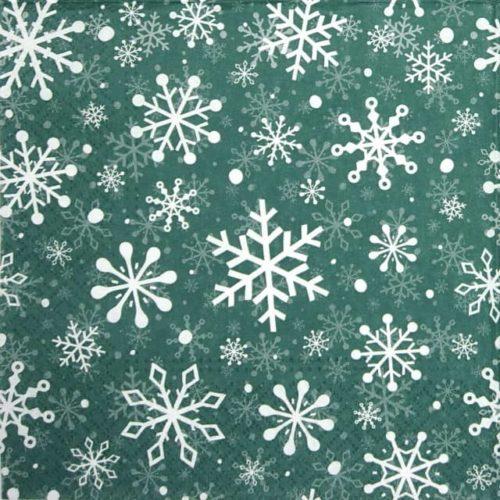 Paper Napkin - Christmas Snowflakes green - Paw