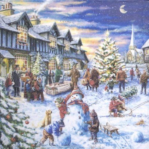 Paper napkin - Christmas Market - Paw