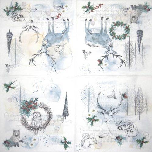 Paper Napkin - Watercolor Winter - Paw