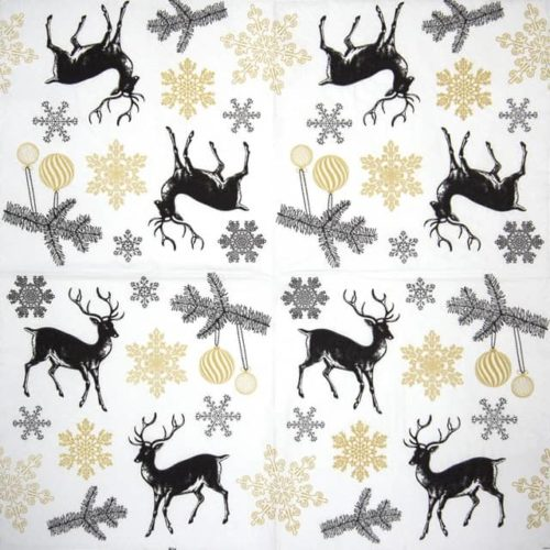 Paper Napkin - Winter Stags gold TETEáTETE TL801809