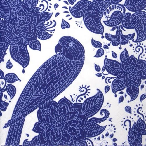 Paper Napkin - Blue Graphic Parrot and Floral Pattern_Daisy_SDOG032501