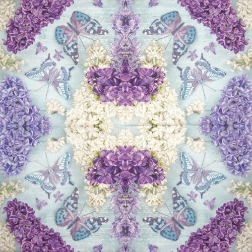 Paper Napkin - Lilac Collage with Butterflies_Daisy_SDOG033701