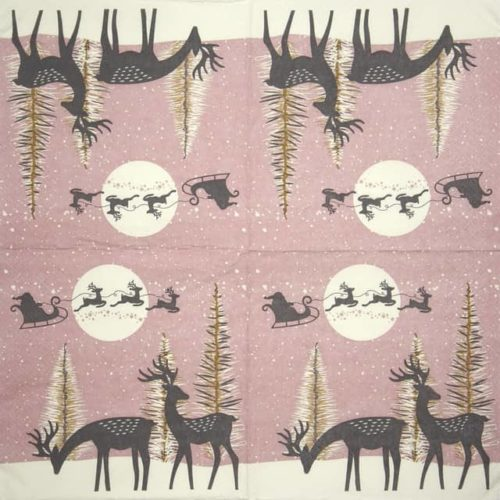 Paper Napkin - Reindeers and Santa Cut-Outs Dusty Pink_Daisy_SDGW018001