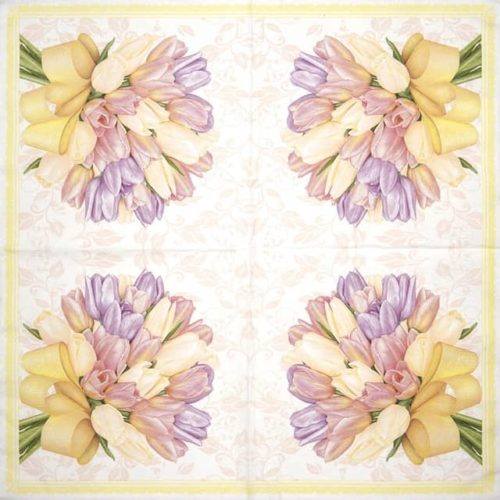 Paper Napkin - Tulips Bouquet with Big Yellow Bow_Daisy_SDWI006501
