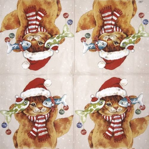 Paper Napkin - Cats Koi cream_IHR_915560