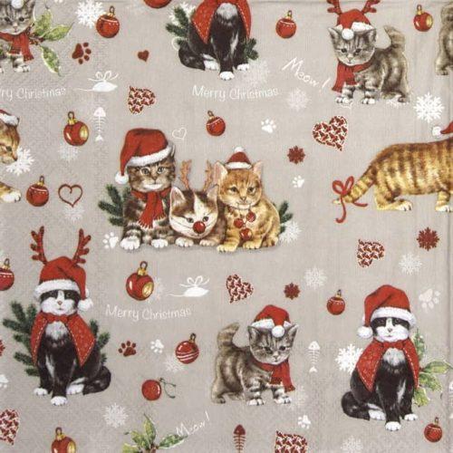 Paper Napkin - Cats Celebration grey_IHR_922745
