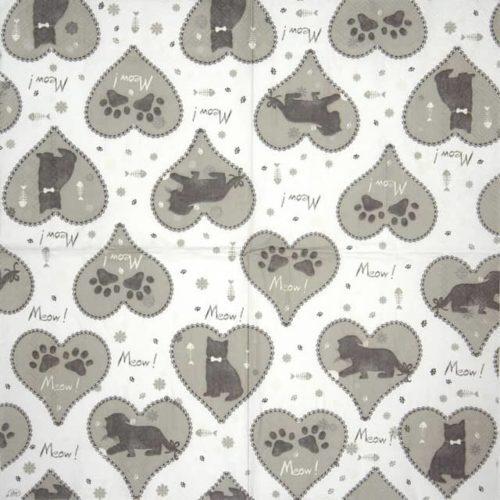 Paper Napkin - Meow Meow grey_IHR_922645