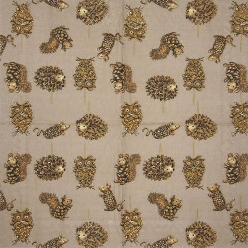 Paper Napkin - Pinecone Animals brown_IHR_934630