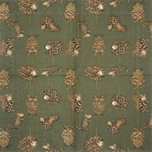 Paper Napkin - Pinecone Animals green_IHR_934620