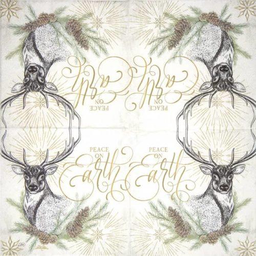 Paper Napkin - White X-mas Deer cream_IHR_921560