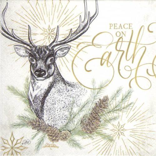 Paper Napkin - White X-mas Deer cream _IHR_921560