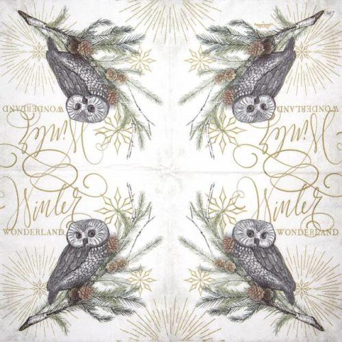 Paper Napkin - White X-mas Owl cream_IHR_921660