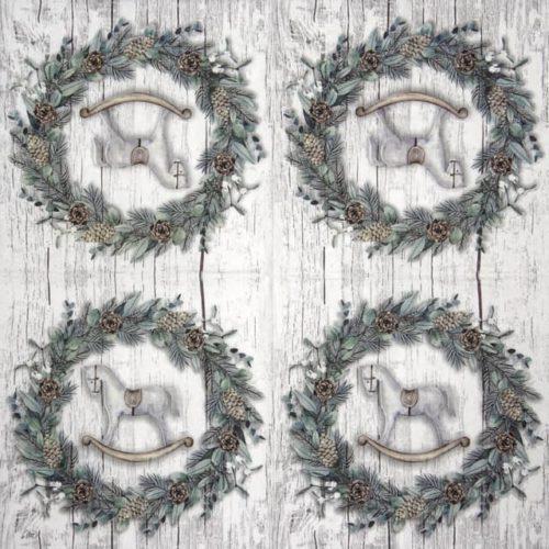 Paper Napkin - White Xmas Wreath grey_IHR_917645