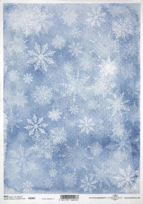 Rice Paper - Snowdrops blue_ITD_R1501