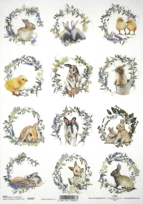 Rice Paper - Easter Animals - R1827_ITD