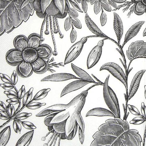 Paper Napkin - Floral Illustration Black_Maki_SLOG052301