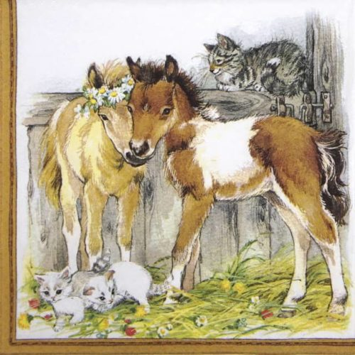 Paper Napkin - Kitten & Foals in Stable_Ti-flair_371057
