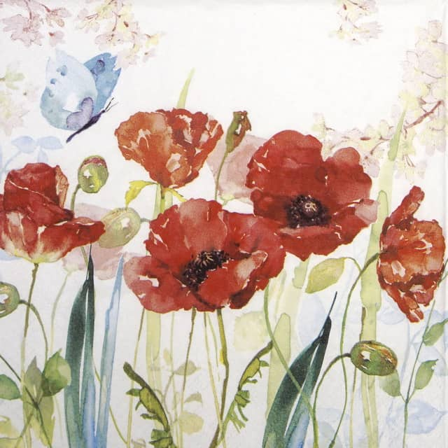 Paper Napkin - Poppies & Butterfly_Ti-flair__344593