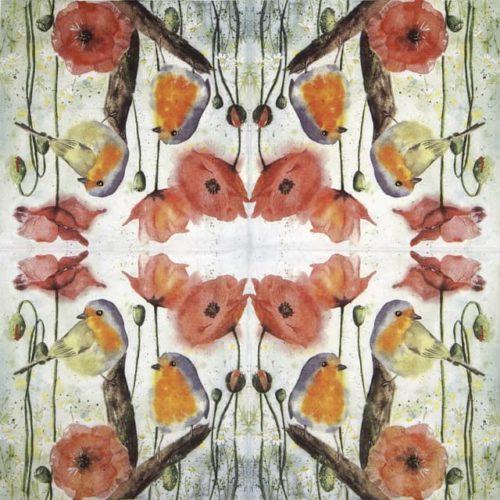 Paper Napkin - Red Robin & Poppy_Ti-flair_344591