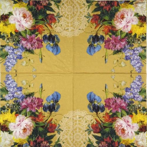 Paper Napkin - Still Life Bouquet Gold
