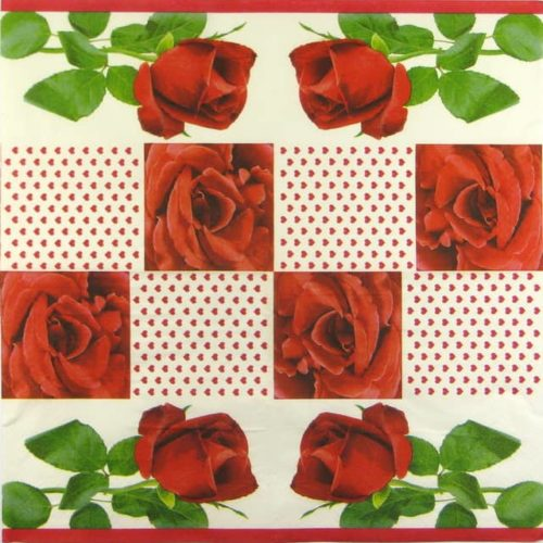 Paper Napkin - Roses and Hearts