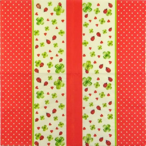 Paper Napkin -  Ladybird and Clover red