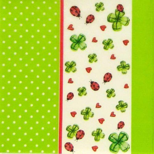 Paper Napkin -  Ladybird and Clover green